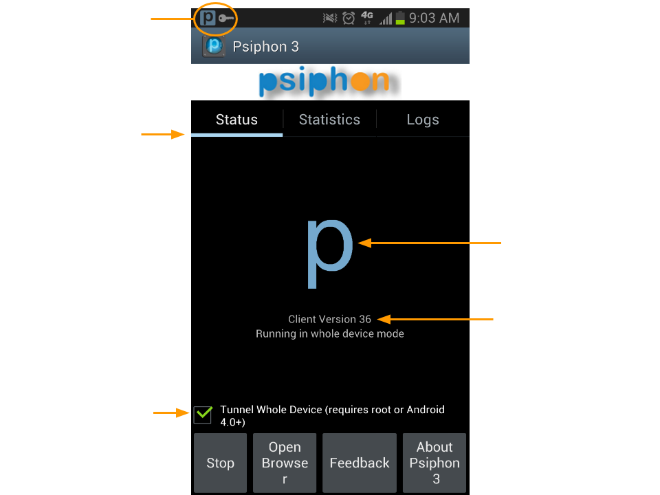 Image showing Psiphon running on Android, on the status panel