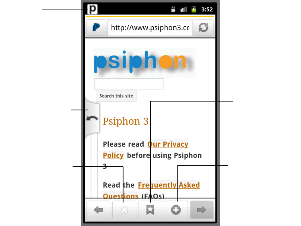 Image showing the different parts of the Psiphon Android web browser