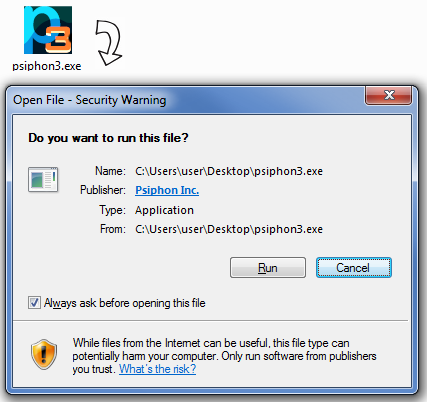Image showing the Windows security warning for the Psiphon executable